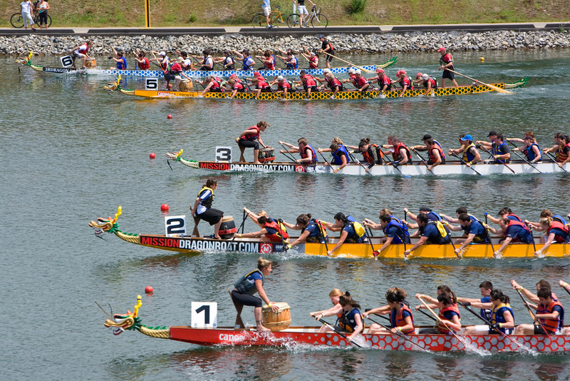 The Dragon Boat Races in Montreal Canada were held in the Olympic Basin in the St Lawrence River.  The race is a fundraiser for cancer research.