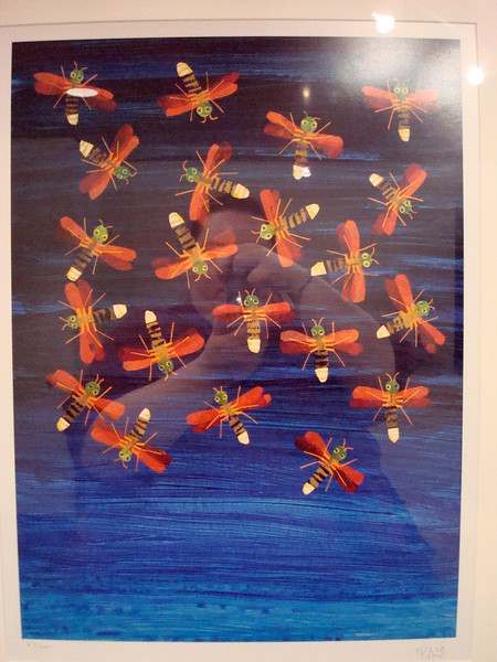 """Fireflies Dancing, from """"The Very Lonely Firefly"""", Lithograph, 1995, Eric Carle (and me in the reflection)"""