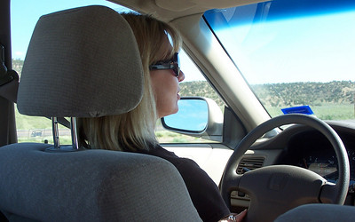 Mikell driving. We won't mention the very scary incident with a semi truck shortly after this photo was taken