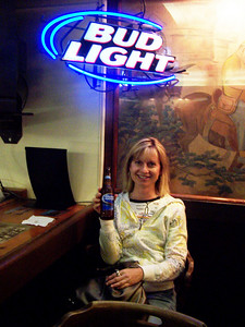 """Hydrating before lunch at Grand Canyon. Mikell was on a quest for """"Bud LIght Lime"""" everywhere we went. The best this place could do was Bud Light with a lime IN it"""