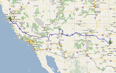 The planned route from Lubbock, Texas to Palo Alto, California. About 1,600 miles, including a detour in the middle to see Grand Canyon