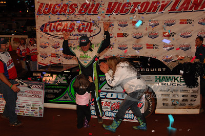 Scott Bloomquist in Victory Lane @ Rome Speedway with daughter Aerial and wife Katrina