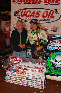 Scott Bloomquist in Victory Lane with Rome Speedway promoter Mickey Swims