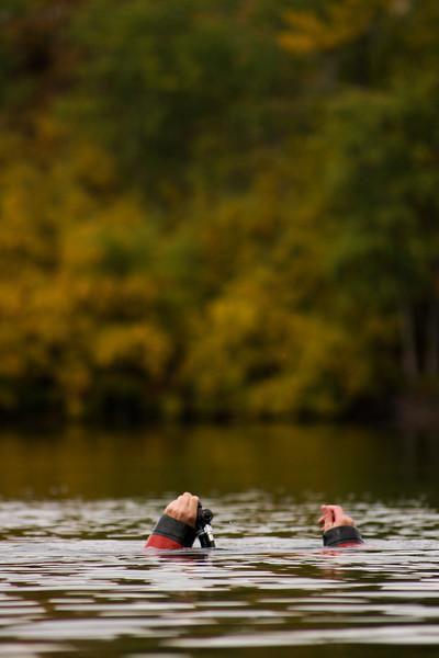 Jon King drops beneath the surface of Echo Lake.