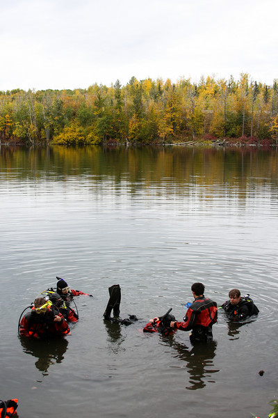The crew is almost ready to head beneath the surface on a slightly balmy autumn day.