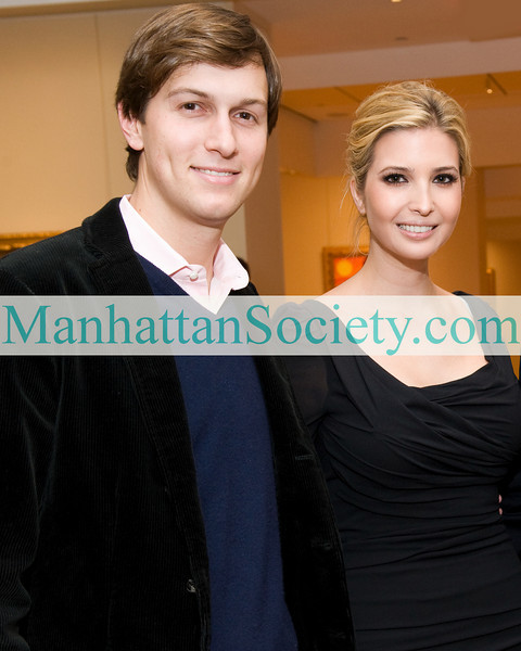 New York-November 19: Jared Kushner, Ivanka Trump Kushner attend FRANCINE LEFRAK'S Launch of SAME SKY—BRACELETS MADE BY WOMEN IN RWANDA on Thursday, November 19, 2009  at  Ana Tzarev Gallery, 24 West 57th Street, New York City, NY (PHOTO CREDIT:Copyright ©Manhattan Society.com 2009 by Gregory Partanio)