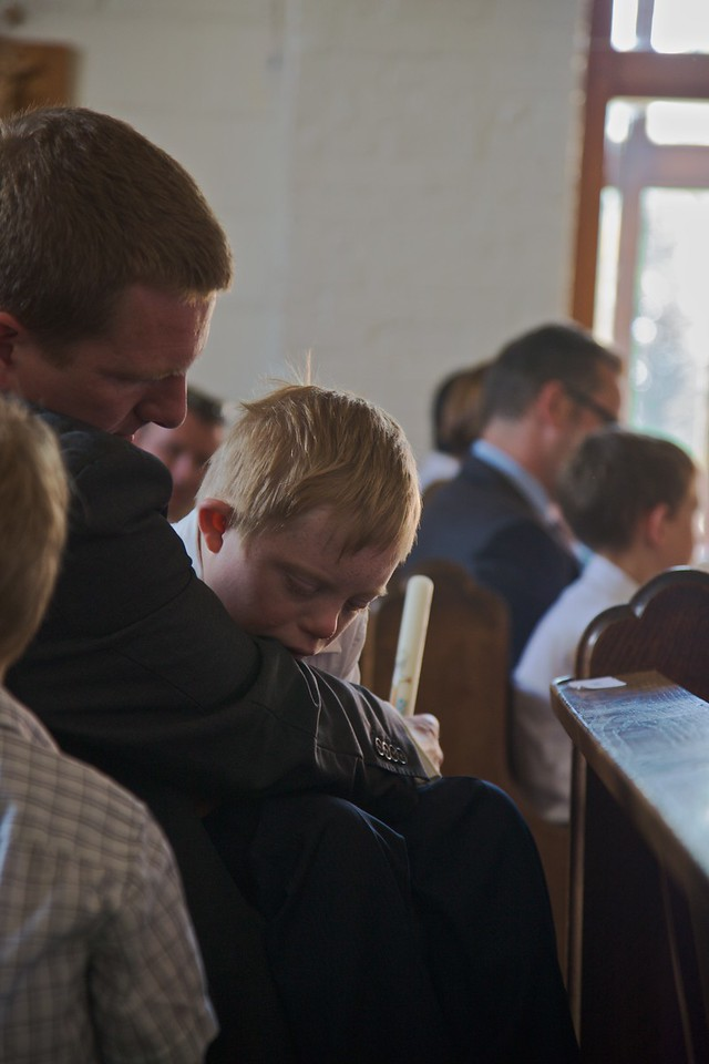Sammy in the pew at church.