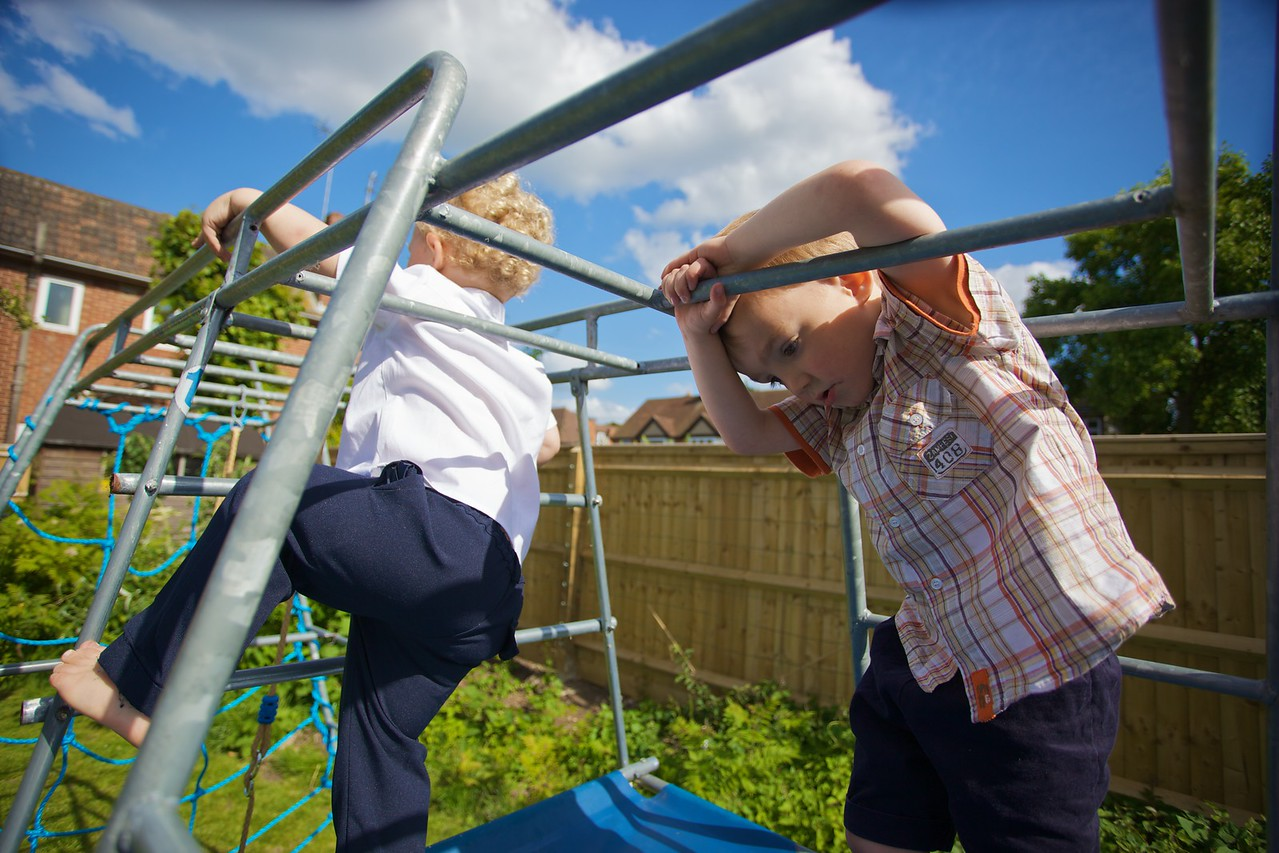 On the climbing-frame.