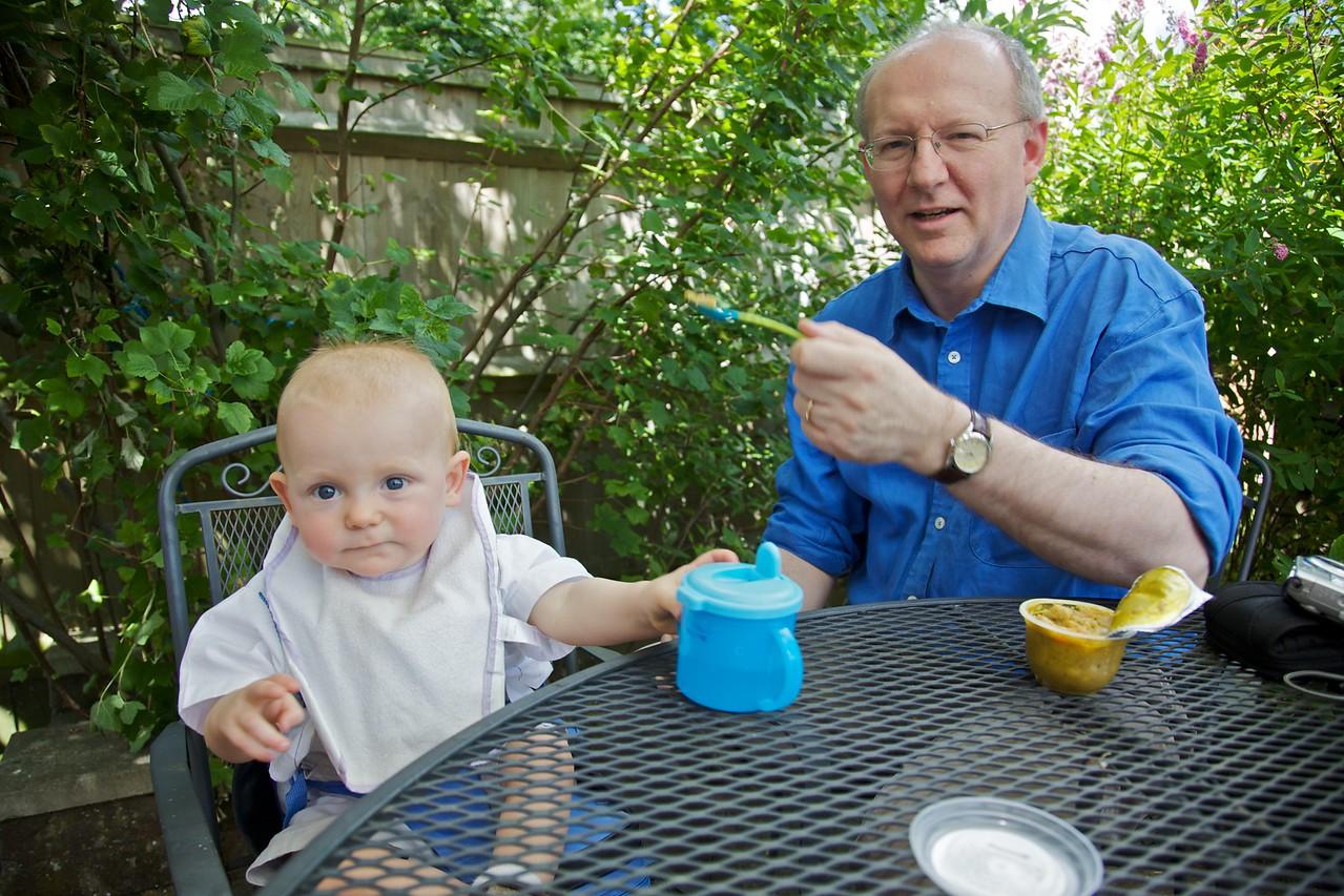Philip feeding Hugh his starter.