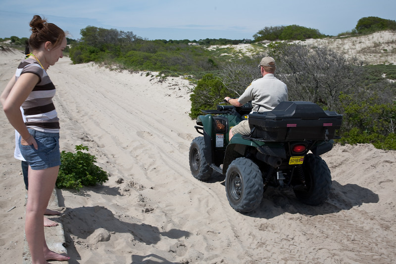 ATV smoothing the sand