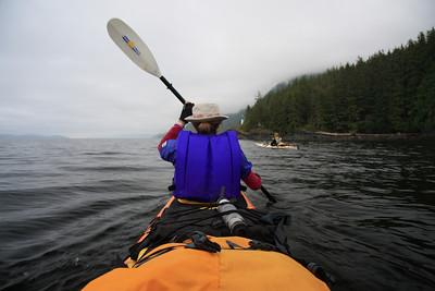 Susan paddling towards Kaikash Creek camp