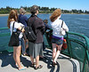 Isabel, Shelli, Chantal, Benjamin, and Lily looking out from the ferry