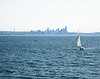 Sailboat on Puget Sound,Seattle in the background