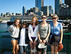 Isabel, Benjamin, Lily, Chantal, and Shelli on the ferry