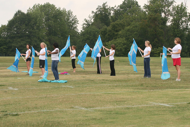 The Marching Band rehearses Thursday afternoon under the leadership of Dr. Jeffrey Richmond.