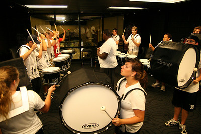 The marching band rehearses in the LYCC on a rainy Wednesday afternoon.