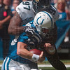 Tribune-Star/Joseph C. Garza<br /> Not a perfect day: Indianapolis Colts quarterback Peyton Manning is run down by Jacksonville's Reggie Hayward during the Colts' 14-12 win Sunday in Indianapolis.