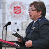 The Gospel: Salvation Army Envoy Cindy Hoag brought the sermon to the small outdoor gathering Sunday morning.