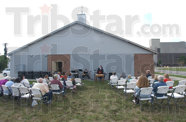"Meet me at the Green: The Salvation Army held an outdoor service Sunday morning. Named ""Meeting on the Green"" the church service was followed by a lunch for the attendees."