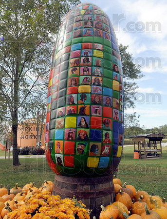 Corn: A colorful piece of corn adorns the grounds of the Pumpkin Works near Paris, Ill.