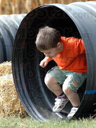 Coming through: Three-year-old Oliver Staley-Henne runs through some piping at the Pumpkin Works Saturday morning.