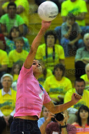 Heavy Hitter: Terre Haute Norths' Bri Hill spikes the ball against the Lady Braves in the third game of their Friday night match.