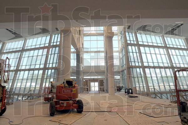 Progress: Interior of the main lobby of the new Union Hospital under construction.