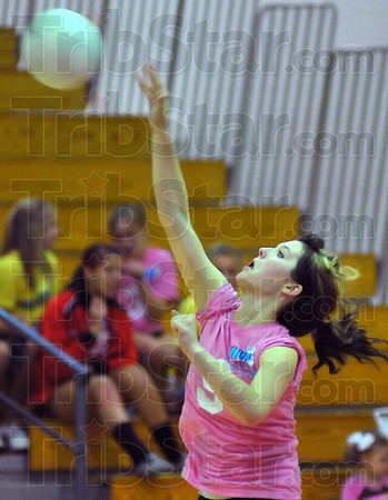 At your service: Sloan Stephens service points were a big factor in the second game of the annual North-South volleyball matchup.