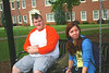 Jamie Hazel and Ruthie Moore relax on the quad