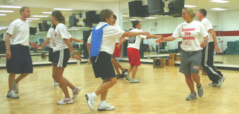 Dr. Hunt instructs her Creative Movement class as they learn a new dance.