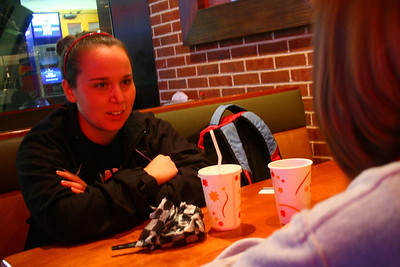 Maggie Lindsey and Sarah Gaddis enjoy lunch in The Kennel on Monday
