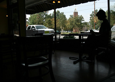 Rachel Adams, a senior Psychology major, studies at the Broad River Coffee Company Thursday morning.
