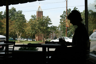 Rachel Adams, a senior Psychology major, studies at the Broad River Coffee Company Thursday morning.
