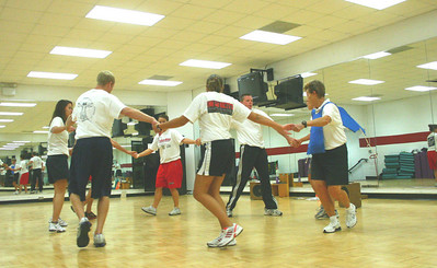 Dr. Hunt instructs her Creative Movement class as they learn Western Dances.