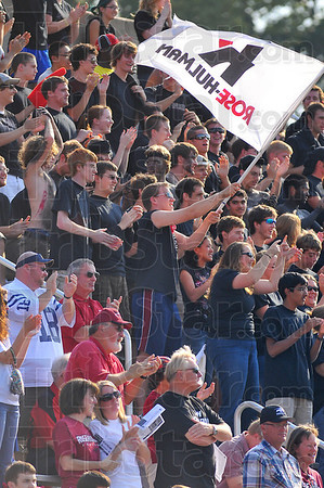 Fan support: RHIT played to a large hometown crowd Saturday. Here the student section, mostly decked out in black cheer an Engineer score.