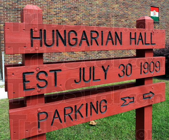 Sign detail: Detail photo of sign at Hungarian Hall.