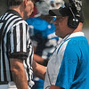 Tribune-Star/Joseph C. Garza<br /> Standing up for his player: Indiana State head coach Trent Miles talks with an official after one of his punt returners was hammered by a Eastern Illinois opponent Saturday at Memorial Stadium.