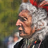 Traveller: LeRoy Malaterre a Chippewa from the Turtle Mountain reservation in North Dakota was one of the men dancers in traditional dress at the Pow Wow Saturday afternoon.