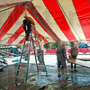 Oktoberfest: Crews work to erect tents and supply electricity for the annual Oktoberfest in downtown Terre Haute Thursday afternoon.
