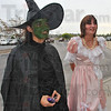 """Which witch: Amanda Vowell and Samantha Thiede, portraying witches Elphaba and Glinda talk about the movie """"The Wizard of Oz"""" before watching the 7:00p.m. showing Wednesday evening."""