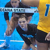 Tribune-Star/Joseph C. Garza<br /> Watch the serve: Indiana State's Whitney Fromm, bottom, watches the incoming serve as the Sycamores play the UMKC Roos in the Best Western Sycamore Classic Saturday at Indiana State.