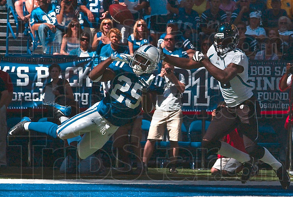 Tribune-Star/Joseph C. Garza<br /> Not today: Indianapolis defensive back Jerraud Powers blocks a pass intended for Jacksonville's Nate Hughes during the Colts' 14-12 win Sunday in Indianapolis.