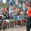 Tribune-Star/Joseph C. Garza<br /> Thank you, Danny!: Actor Danny Glover, right, receives applause after he spoke to union members Monday at Fairbanks Park.
