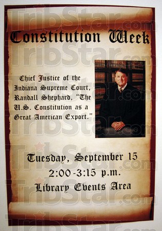 Notice: Detail photo of poster announcing Chief Justice of thee Indiana Supreme Court's appearance at the Cunningham Memorial Library Tuesday afternoon.