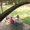 Homework haven: Terre Haute North students Mikayla Corenflos and Melonie Henderson do some homework in Collett Park Tuesday afternoon.