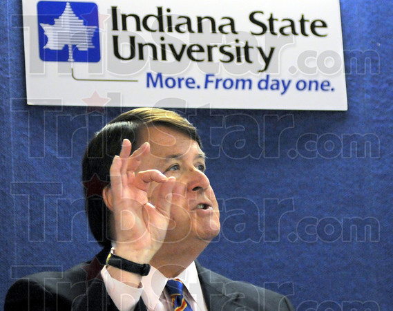 Justice: Indiana Chief Justice Randall Shepherd speaks with a group of students, faculty and staff of Indiana State University Tuesday afternoon as part of Constitution Week Events.