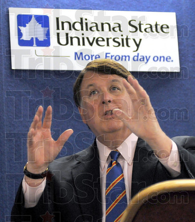 Constitution week: Indiana Chief Justice Randall Shepherd addresses students and faculty of Indiana State University at the Cunningham Memorial Library Tuesday afternoon.