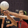 Playing my Toon: South's #7, Macy Toon reaches for a ball during game action at Sullivan Tuesday evening.