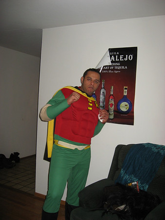 Robin actually showed up to the party driving a motorcycle while wearing this costume. It was pretty awesome to see him drive up to the party!