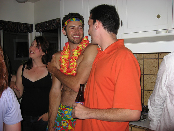 "Martin and Moshe enjoying the ""Dr. Taco presents Sexy Superhero Party."""